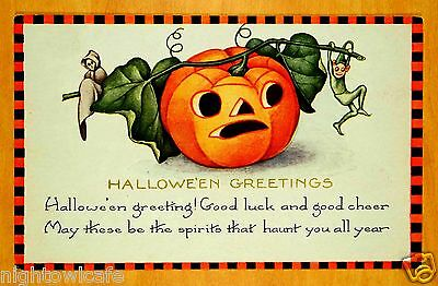 HALLOWEEN SPIRITS THAT HAUNT YOU Black Orange Check Border Whitney Postcard 1924