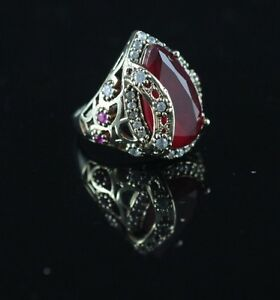 TURKISH-HANDMADE-RUBY-STERLING-SILVER-925K-BRONZE-RING-SIZE-6-7-8-9-10