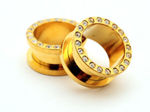 Pair-of-Gold-CZ-Screw-on-Tunnels-gauges-plugs-PICK-SIZE