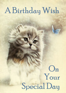 Image Is Loading HAPPY BIRTHDAY GREETINGS CARD CUTE FLUFFY CAT KITTEN