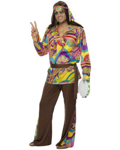 CL423 Psychedelic Hippie Man Retro 60s 70s Disco Costume Fancy Dress Costume
