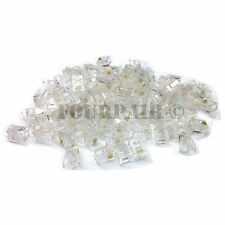 100 Pack - RJ11 6P4C CAT3 Cable Telephone Crimp-On Connector Modular Plug Ends