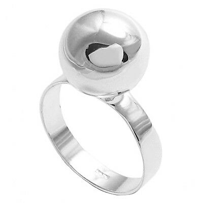 925 Sterling Silver Simple Round Ball Ring Size 7-9