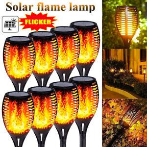 10PC Solar Torch Light LED Flickering Flame Outdoor Garden Yard Lamp Waterproof