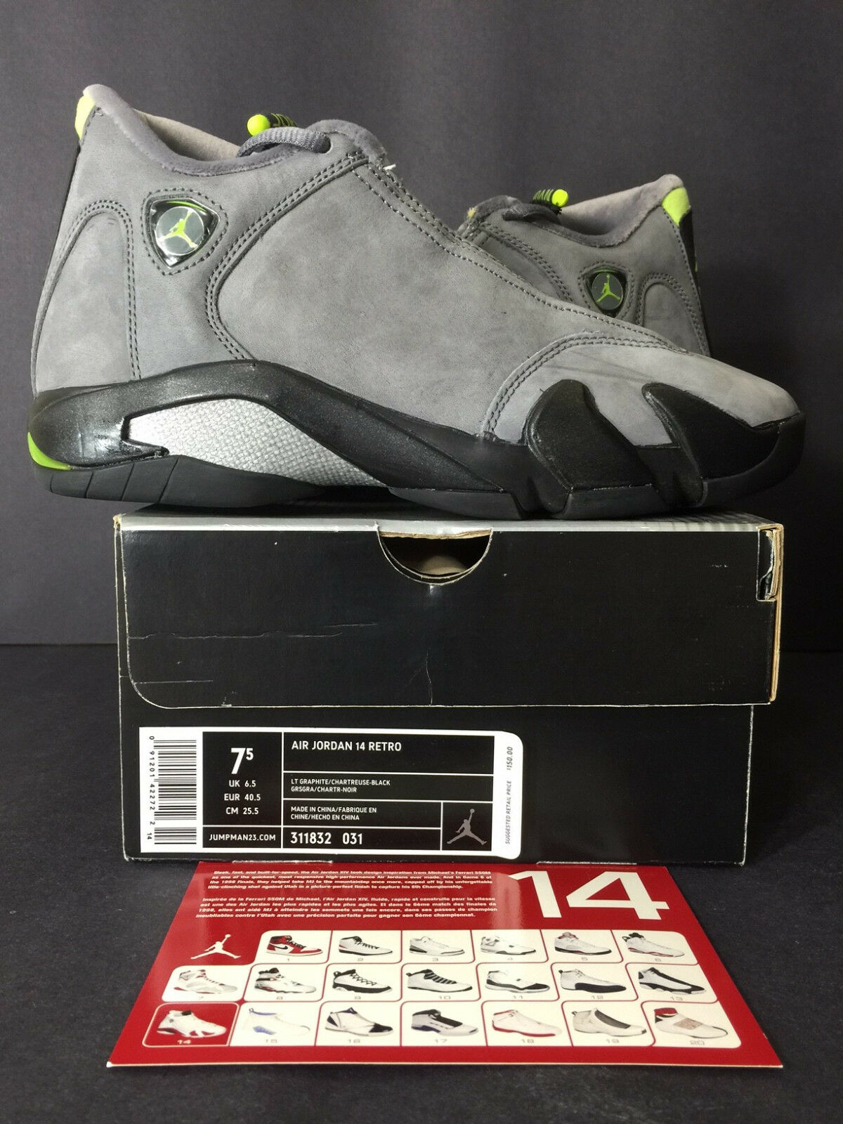 the best attitude 7e906 d2a30 2005 DS NEW NIKE AIR JORDAN XIV 14 RETRO GRAPHITE GRAPHITE GRAPHITE  CHARTREUSE MEN 7.5 WOMEN