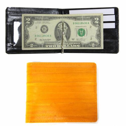 Genuine Eel Skin Leather Man/'s Money Clip Wallet Bifold Wallet Purse