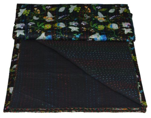 Indian Kantha Quilt Bedspread Bedding Throw Handmade Floral Cotton Single//Double