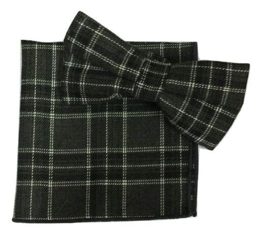 2-teiliges Set Schottenkaro Fliege Einstecktuch Taschentuch Baumwolle UK