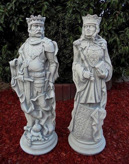 Gartenfiguren Set König & Königin Schachfiguren,Steinguss, Skulpturen Gartendeko