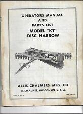 Original Allis Chalmers Model Kt Disc Harrow Operators Manual Parts List Tpl511