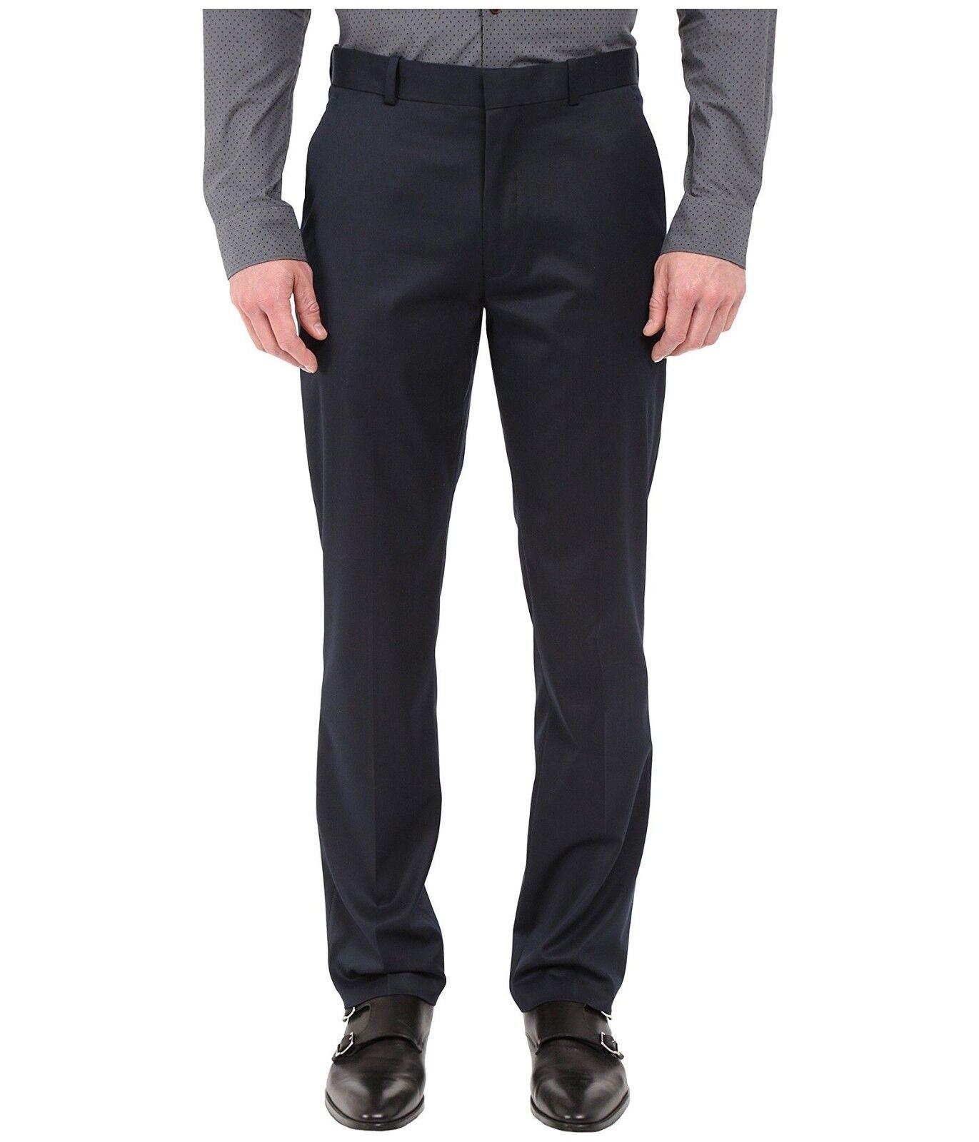 PERRY ELLIS PORTFOLIO men blueE SLIM FIT FLAT FRONT DRESS PANTS 29 W 30 L