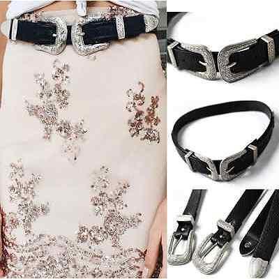 Fashion Women Boho Lady Vintage Metal Leather Double Buckle Waist Belt Waistband