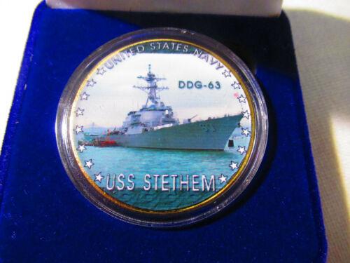 US NAVY USS Stethem DDG-63 Challenge Coin w// Presentation Box