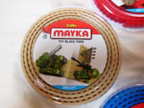 5 LEGO accessory Zuru Mayka Toy Block Tape 1M//3.2FT Blue Red Black Tan Gray Grey