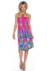 Damen Trägerloses Kleid DESIGN BLUE FLOWER 24027-2 Cocktailkleid Abendkleid NEU