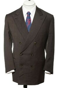 44R-Brioni-Double-Breasted-Italian-Wool-Brown-Nailhead-Blazer-Sport-Coat-Jacket