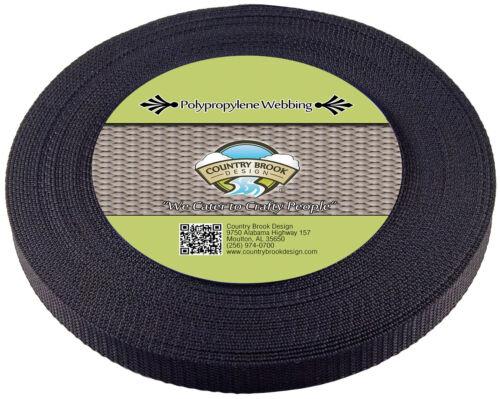 50 Yards Country Brook Design® 3//4 Inch Black Heavy Polypro Webbing