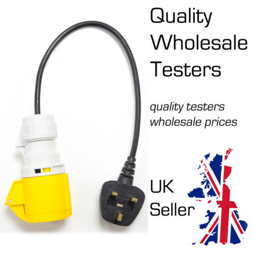 UK 13A Plug to 110V 16A 3 Pin Socket Adaptor for PAT Testing AMECaL TL-131A
