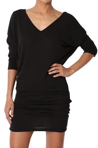 Womens V Neck Long Batwing Tunic Dress Top 3//4 Sleeve UK 8-28