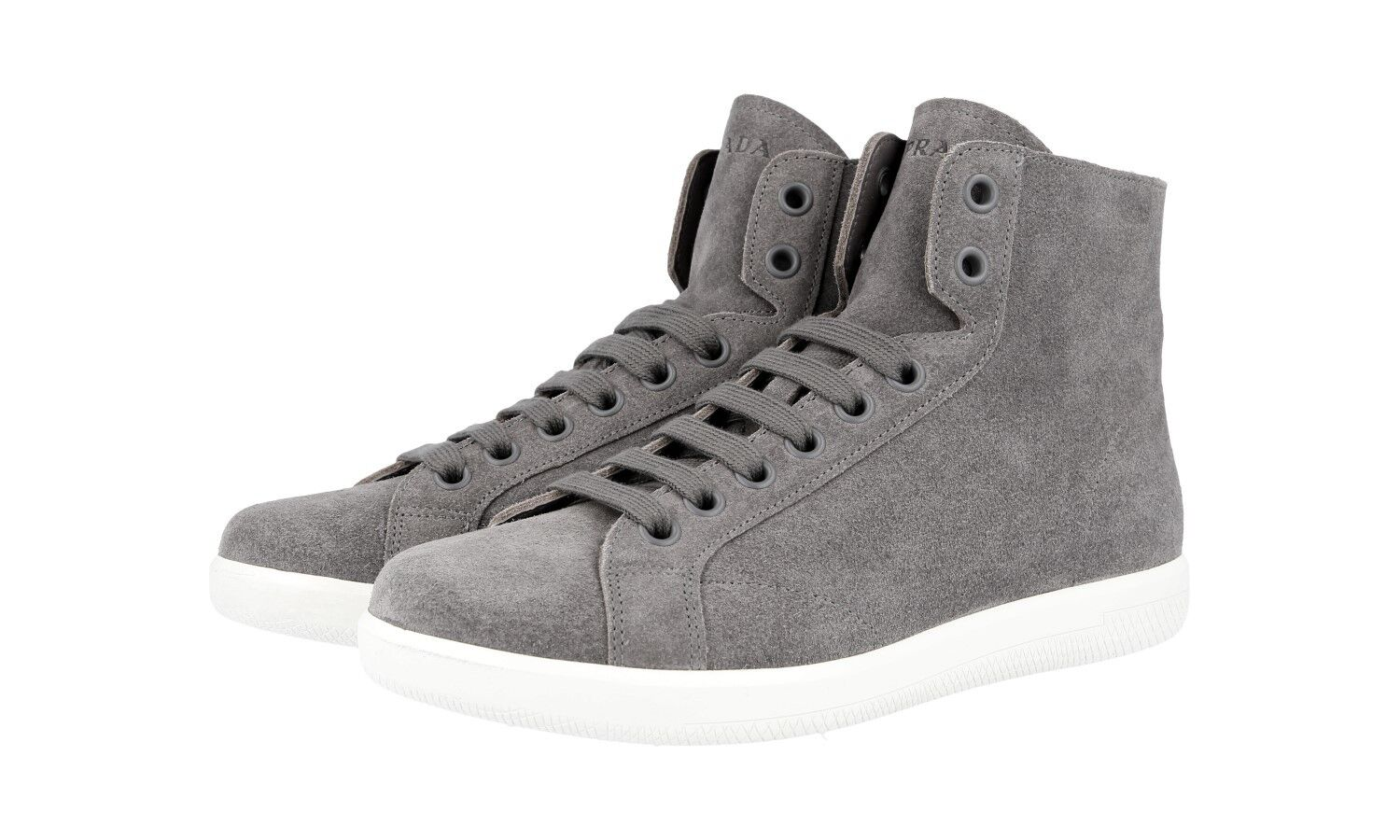 LUXUS PRADA HIGH TOP Turnschuhe SCHUHE 4T3149 GRAU WILDLEDER NEU NEW 6,5 40,5 41