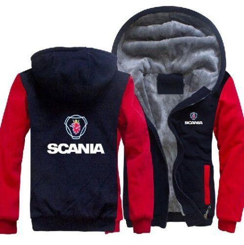 SCANIA PRINTED HEAVYWEIG Men Winter Fleece Hoodie Coat Thicken Jacket Sweatshirt