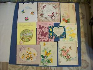 BUTTERFLY misc. Greeting Cards vintage 1940-60's Lot of 10 used