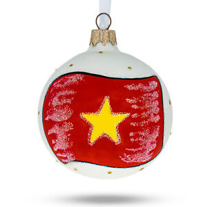 NEPAL FLAG EUROPEAN BLOWN GLASS CHRISTMAS TREE ORNAMENT DECORATION