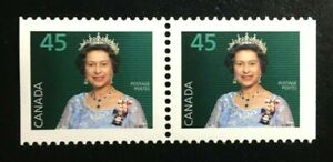 Canada-1360as-PP-MNH-Queen-Elizabeth-II-Booklet-Pair-of-Stamps-1995