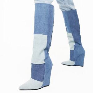 Women-Retro-Denim-Cowboy-Chelsea-Boots-Wedge-Heel-Side-Zip-Knee-High-Boots-Shoes