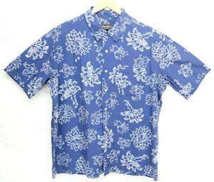 Eddie-Bauer-Men-Button-Down-Shirt-Hawaiian-Blue-Size-Large-Cotton-Short-Sleeve