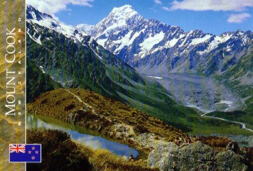 Aoraki Cook Hooker Valley New Zealand Postcard: Mount