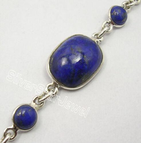"""925 Argent Massif Authentique Lapis lazuli pierres Nouveau Art Lourd Bracelet 8.3/"""""""