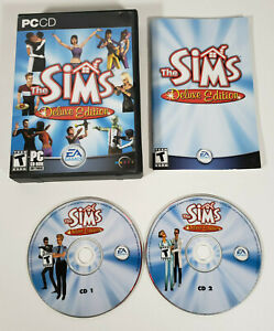The Sims: Deluxe Edition [2002 PC game] w/ Case, Manual, & 2 Discs