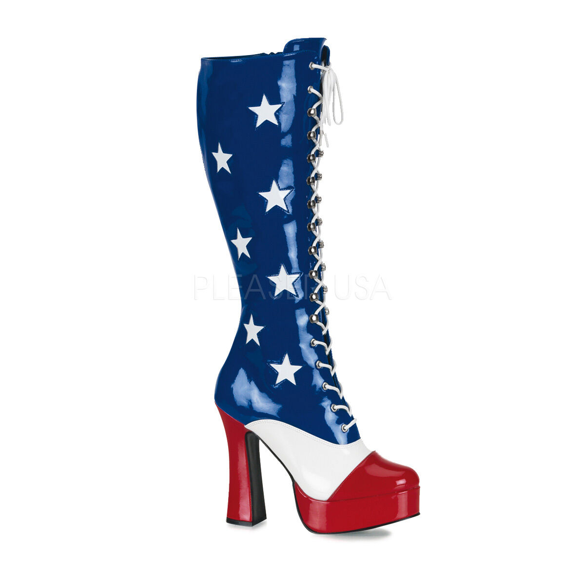 Sexy American Flag 5  Chunky Heel Platform Costume Knee High Boots ELE2030 AF