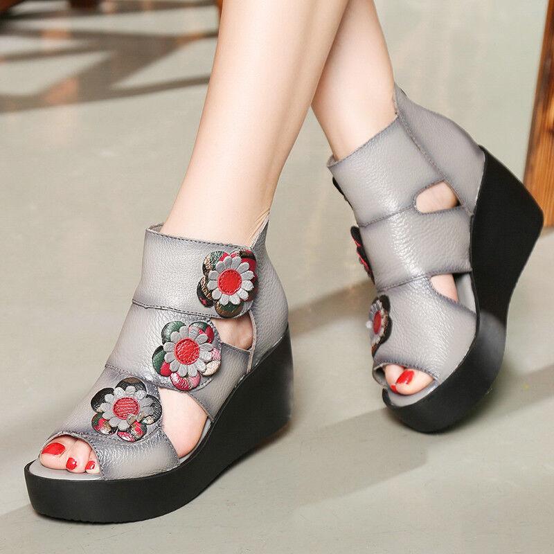 Donna Pelle Wedge Sandal Stivali Retro Roma Mid Heel Open Toe Platform Shoes