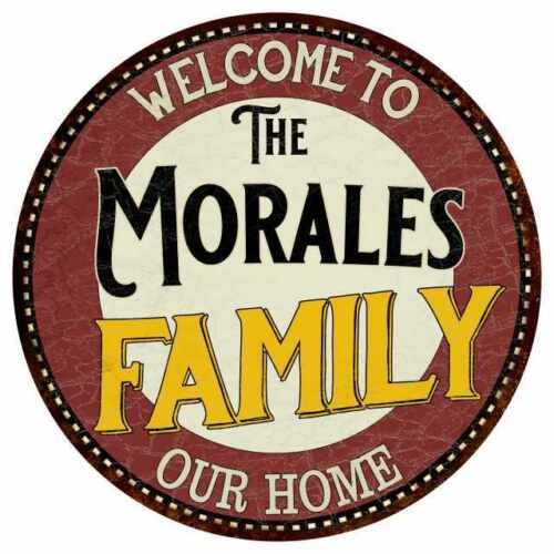 The Morales Family Round Metal Sign Kitchen Game Room Décor 100140038091