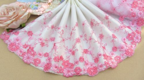 """7/""""*1Y Embroidered Tulle Lace Trim~White+Light Pink+Deep Pink~Doll//Dress//DIY~"""