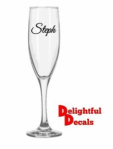 Wedding Bridal Party Vinyl Wine Glass Decal Sticker Name Or Role Diy
