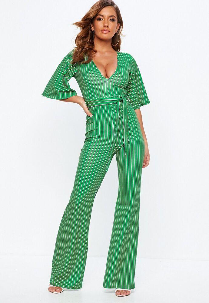 Bnwt Missguided Jumpsuit Taille 6 Kimono Manches à Rayures Vert Ceinturée Parti Plongeant