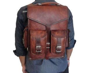 Genuine-Goat-Leather-Men-039-s-Backpack-Laptop-Satchel-Briefcase-Brown-Bag-Handmade