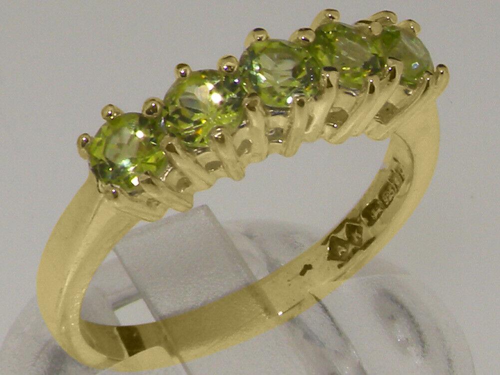 14k Yellow gold Natural Peridot Womens Eternity Ring - Sizes 4 to 12
