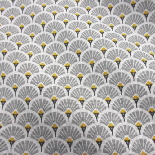 Stoff Baumwolle Japan Fächer rund hellgrau messing Retro gemustert Neu Meterware