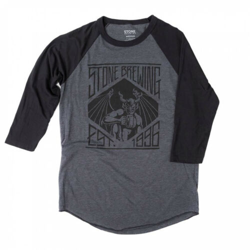 Stone Brewing Founded 1996 Men/'s Grey Raglan Sleeve Shirt Black