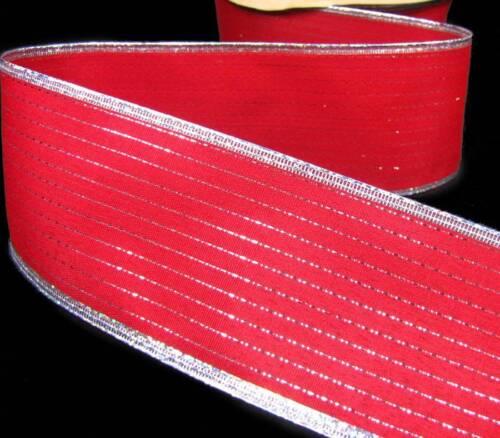 "5 Yd Christmas Red Metallic Silver Pinstripe Wired Ribbon 2 1//2/""W"