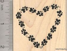 Paw Print Heart Rubber Stamp, Dog, Cat, Pet pawprints  J20104 WM
