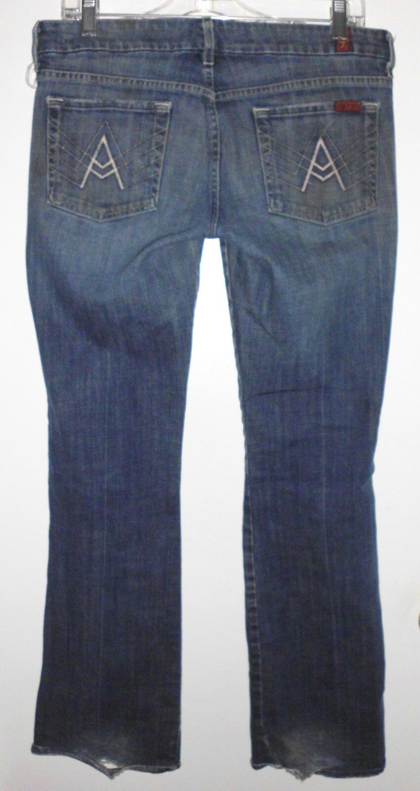 7 FOR ALL MANKIND Jeans Sz 30 Men's Distressed Lowrise Stretch Boot Cut bluee