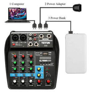 TU04 BT Sound Mixing Console Record 48V Phantom 4 Channels Audio Mixer with USB