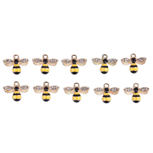 10Pcs//Set Enamel Crystal Honeybee Charms Pendant Jewelry DIY Making CraftNWUShha