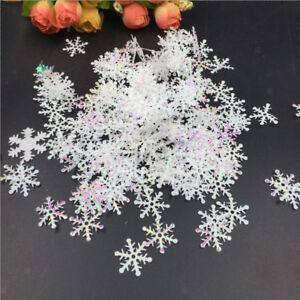 Shiny-White-Plastic-Snowflake-Confetti-Table-Sprinkles-Christmas-Ornaments