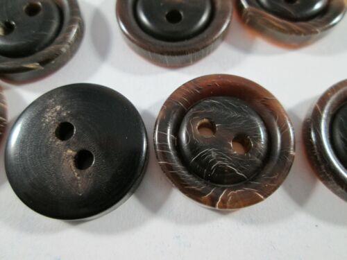 Botón botones 27 unidades marrón oscuro jaspeadas cuerno botones 18 mm grande #3122#